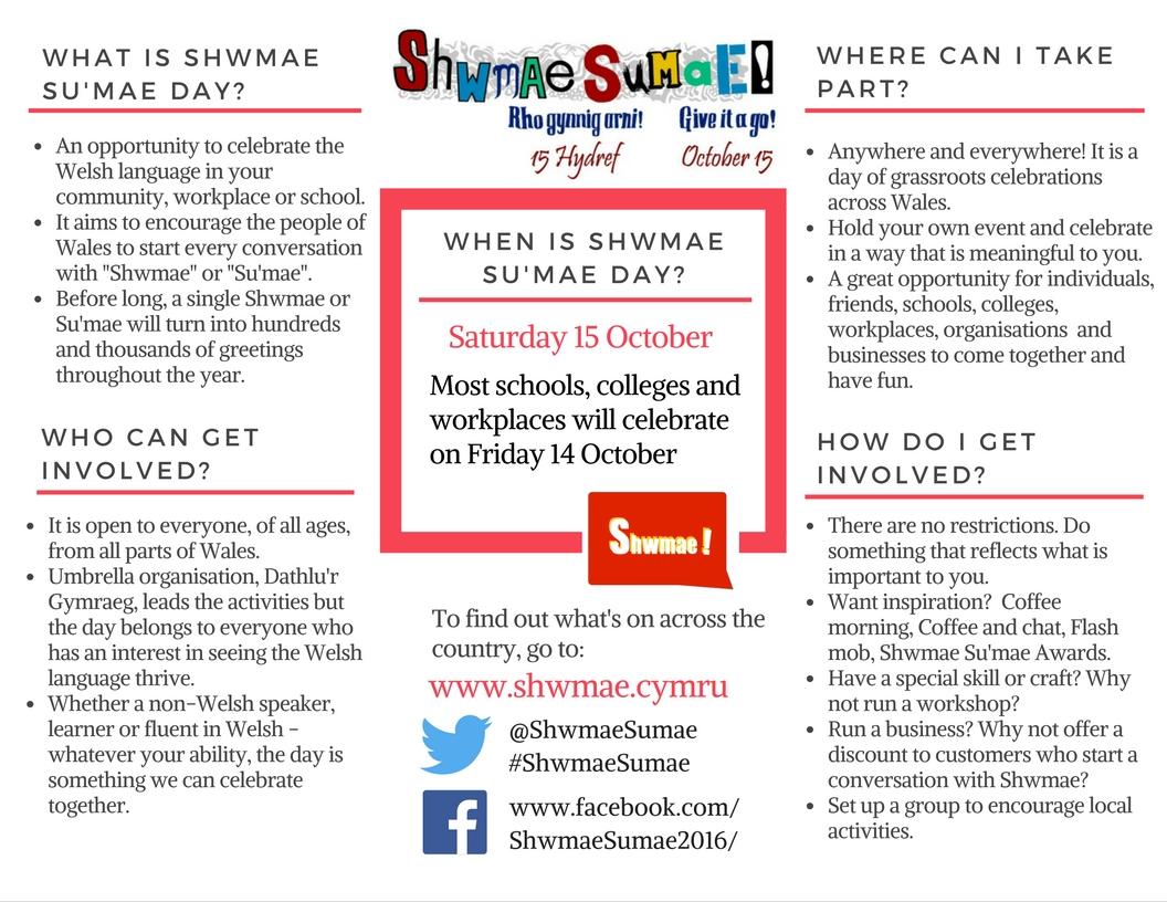 Shwmae Sumae Day leaflet